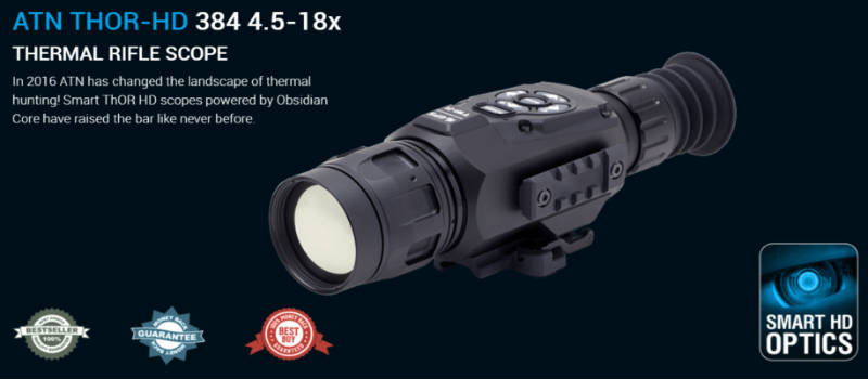 ATN ThOR HD 384 Smart Thermal Riflescope w/ High Res Video, WiFi, GPS, Image Stabilization, Range Finder, Ballistic Calculator and IOS and Android Apps